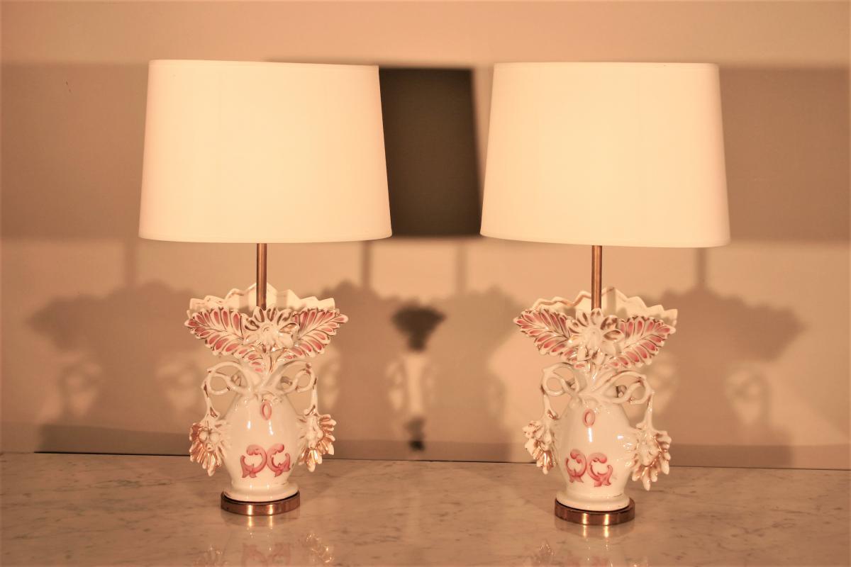 Paire De Vase De Mariée Montés En Lampe