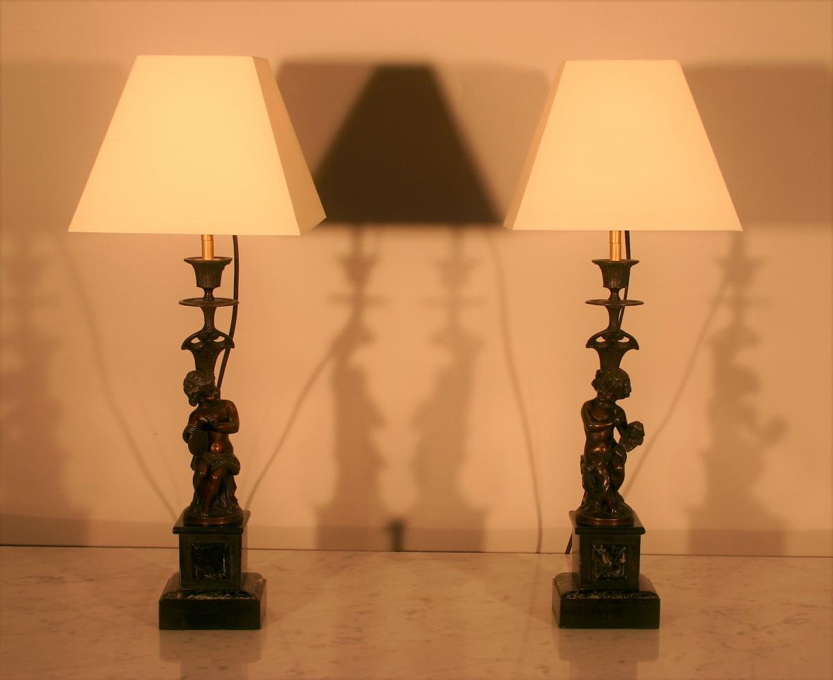 Lamps Pair In Cherubim Regulates Patina, End XIX