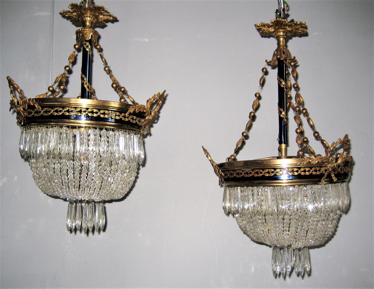 2 Lustres Corbeilles  De Style Louis XVI Pouvant Former Une Paire