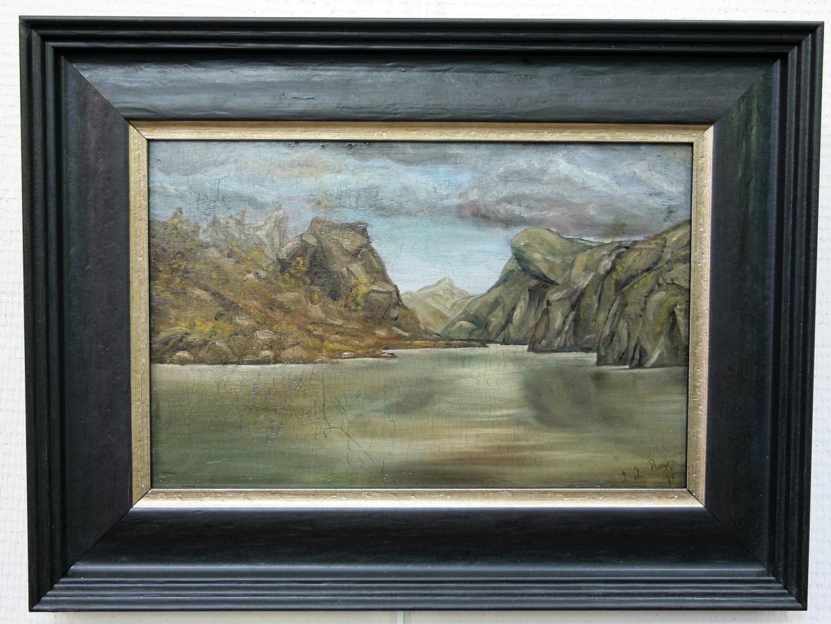 Paysage Onirique, Huile Sur Panneau Signée, Datée 1889