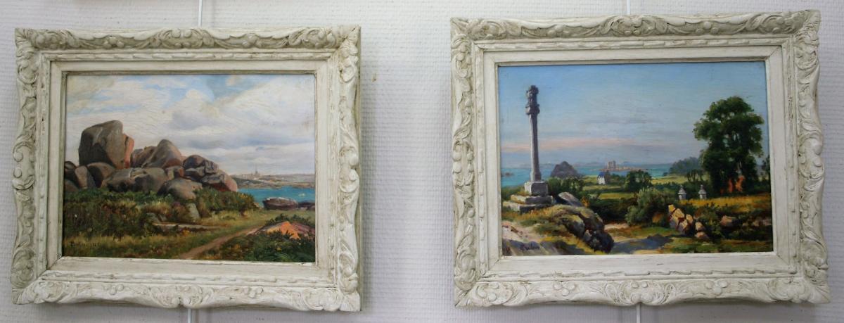 Peullevé Ernest, Paire d'Huiles Sur Panneaux, Paysages Bretons