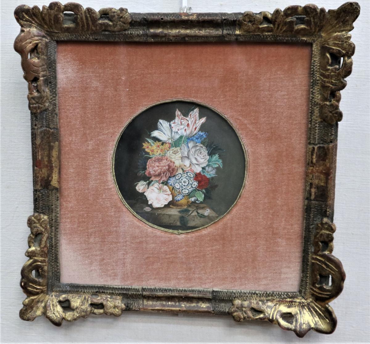 Jan-frans Van Dael, Bouquet De Fleurs Sur Une Margelle En Marbre, Gouache, Signée