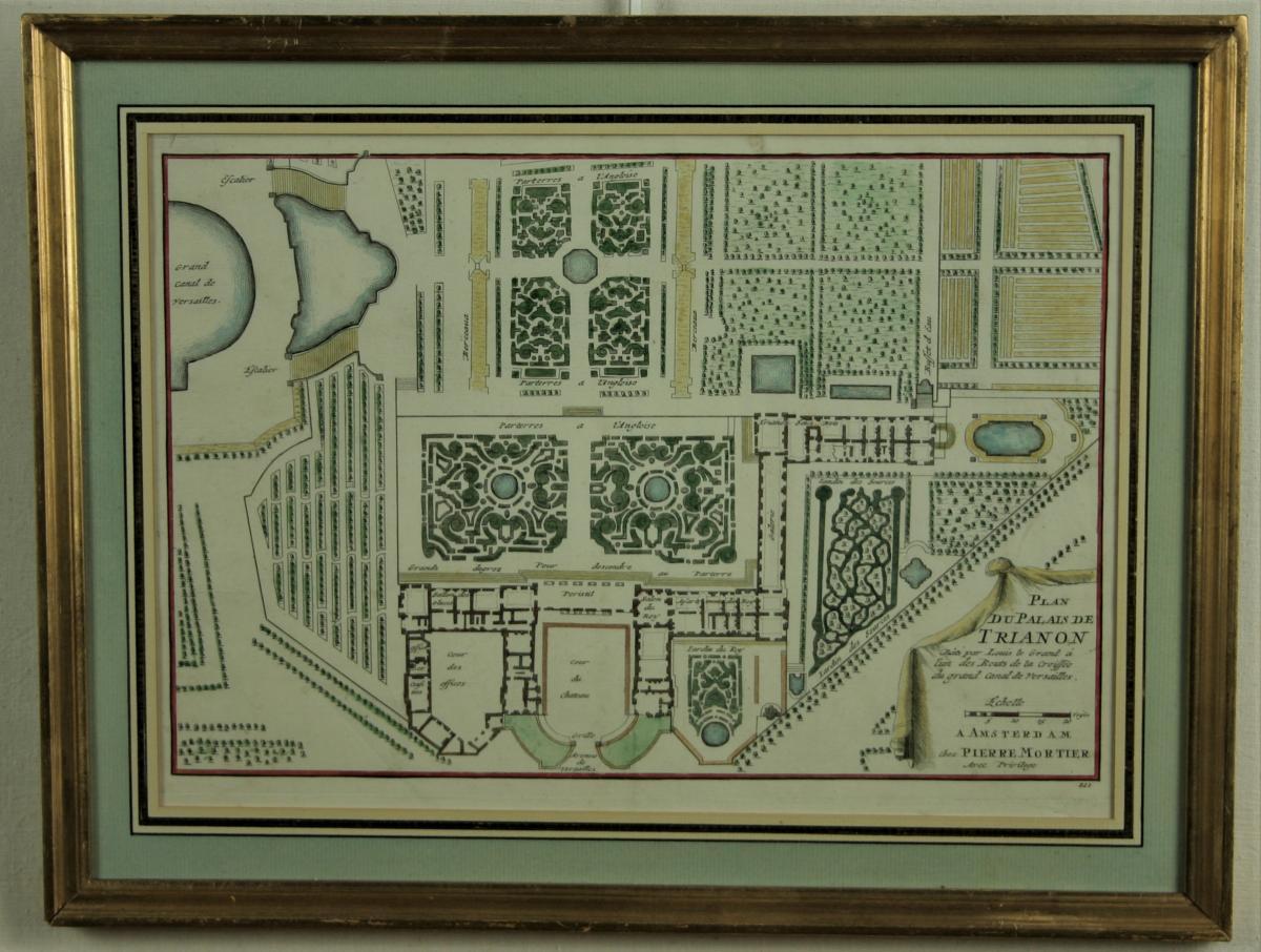Plan Du Palais De Trianon , Estampe Aquarellée, 1705, Cadre Doré