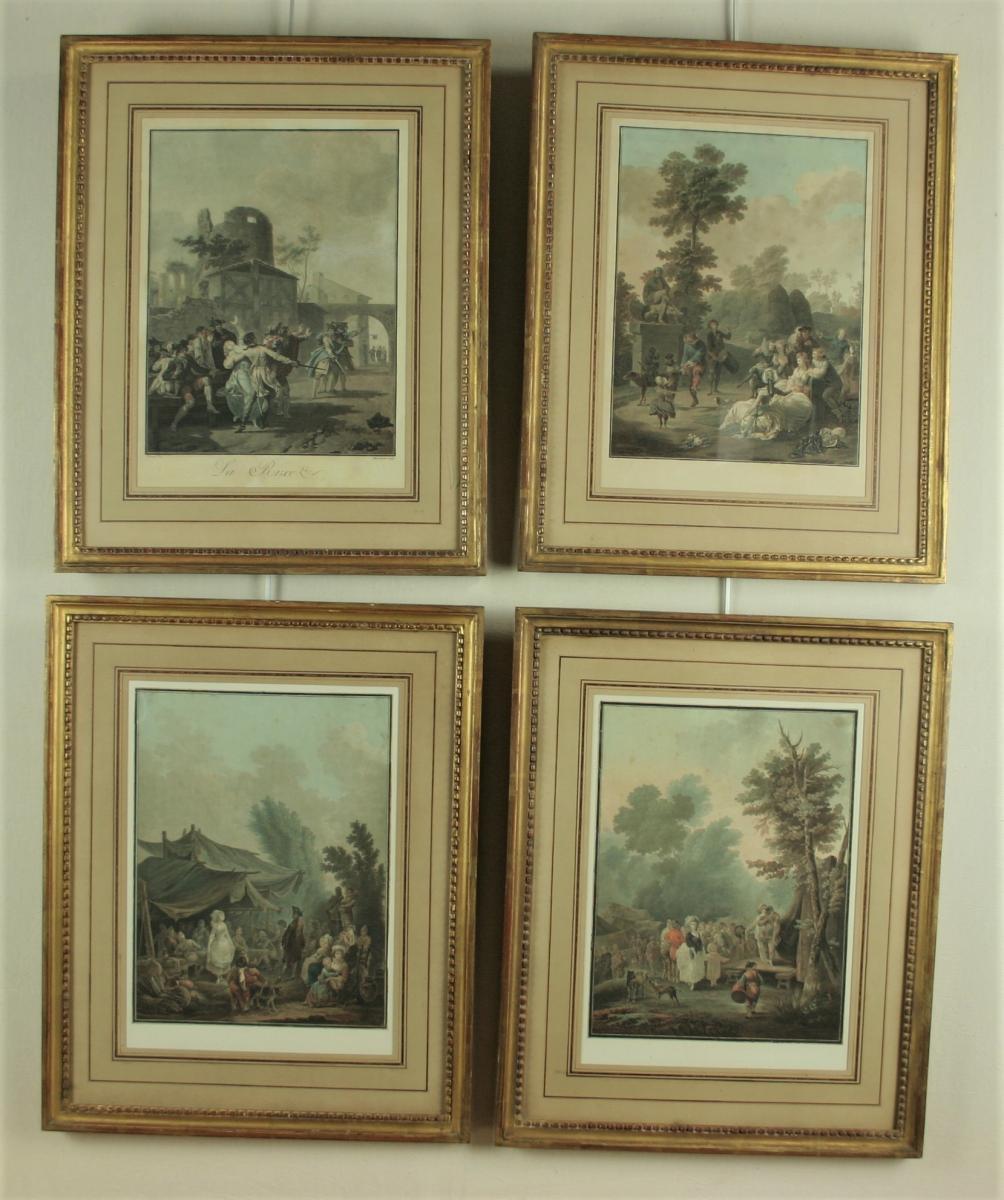 Descourtis d'Aprés Taunay,suite De 4 Gravures En Couleur, Encadrées, XVIIIe Siècle