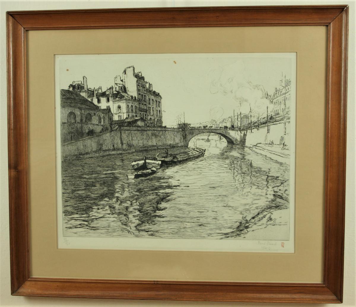 René Pinard, Le Pont De La Poissonnerie à Nantes, Estampe Encadrée