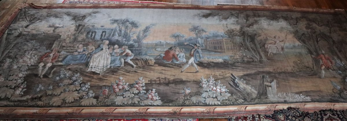 Very Large Oil On Canvas, Fresco In The Taste Of The Eighteenth Century, 264x672cm