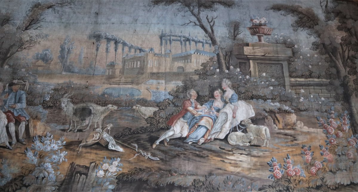 Large Oil On Canvas, Fresco In The Taste Of The Eighteenth Century, 260x513cm