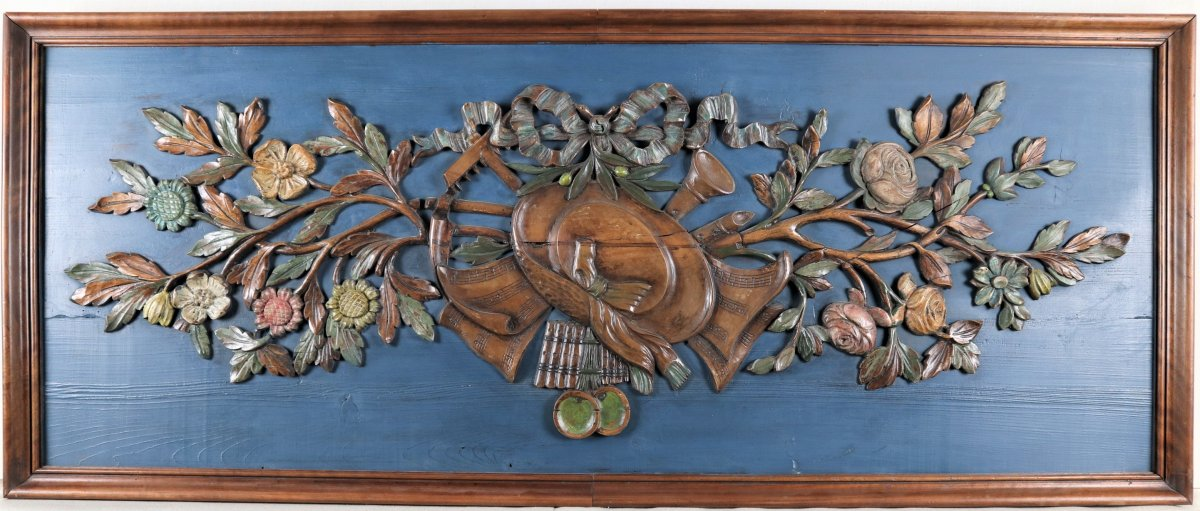 Woodwork Panel With Country Attributes, XIXth Century