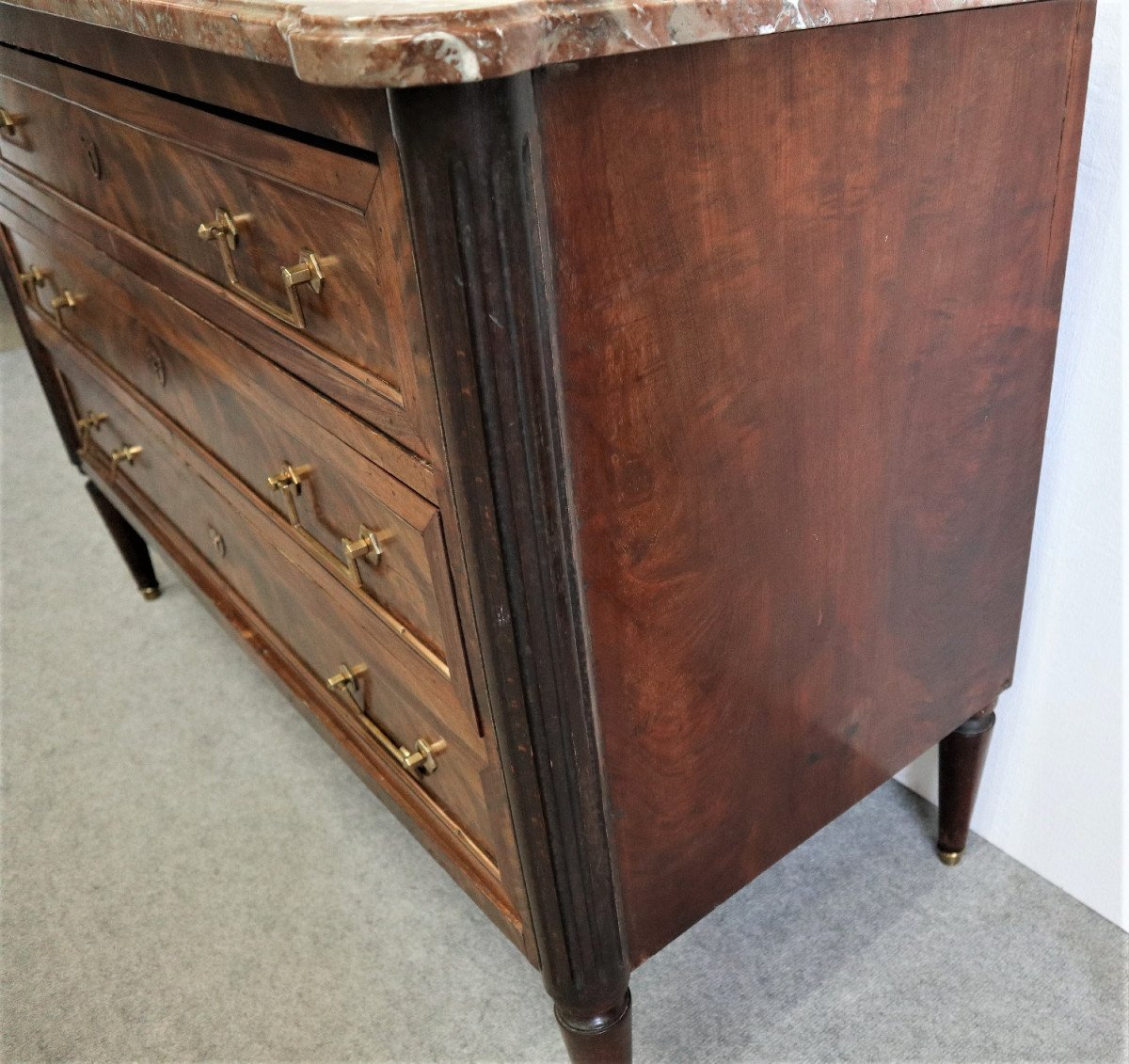 Louis XVI Style Commode In Mahogany Marble Top-photo-2