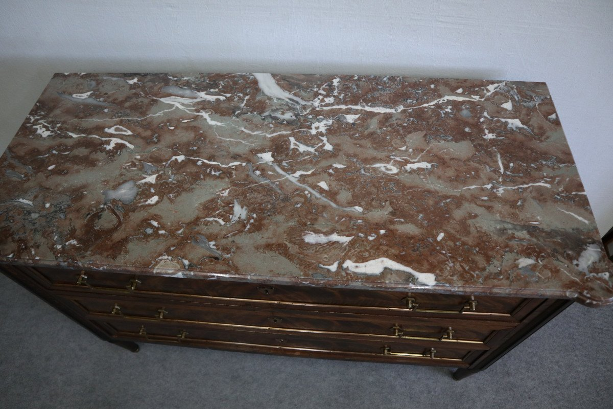 Louis XVI Style Commode In Mahogany Marble Top-photo-3