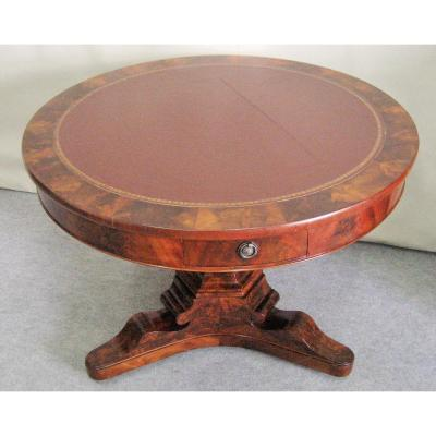 Pedestal Mahogany Restoration Period Flamed Top Leather
