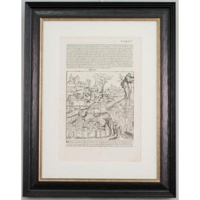 Incunable, 1493, Schedel, Nuremberg Chronicles, Framed