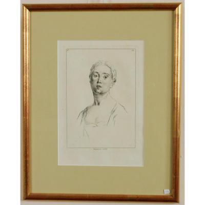 Watteau A, (d'aprés),planche 280 Des Figures Des Différents Caractéres, Encadrée