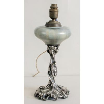 Pied De Lampe, Grés émaillé et Bronze Argenté