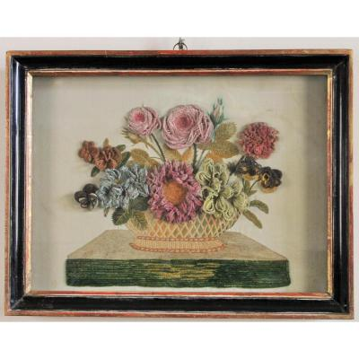Embroidered Silk Flowers In A Window Frame, Napoleon III