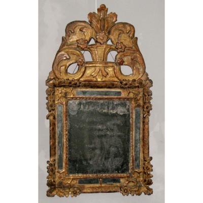 Miroir à Parecloses Surmonté d'Un Fronton, Bois Doré, èpoque Louis XIV