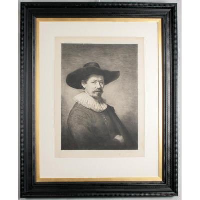 Gravure Sur Velin, Autoportrait, d'Aprés Rembrandt, 1884, Encadrée.