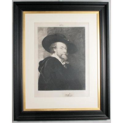Engraving On Velin, Self Portrait, After Rubens, Hathez, 1890 Framed
