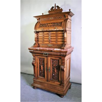 Cabinet With Two Corps Walnut Molded And Carved, Renaissance Style, End Of XIXth Century
