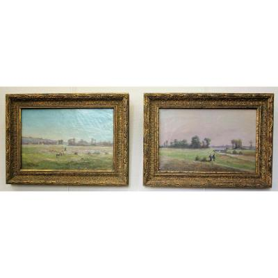 Mery Charles Léon, Pastoral Scenes, Pair Of Oils On Canvas, Late Nineteenth