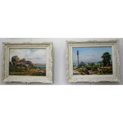Peullevé Ernest, Pair Of Oils On Panels, Bucolic Landscapes