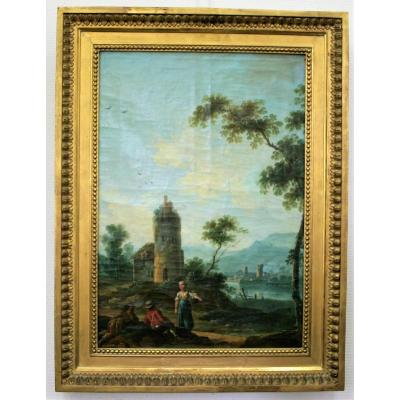 Oil On Canvas, Animated Landscape, 18th Century French School, Follower De Lacroix De Marse