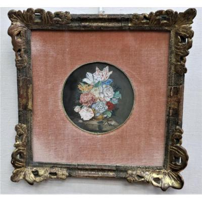 Jan-frans Van Dael, Bouquet Of Flowers On Marble Marble, Gouache, Signed