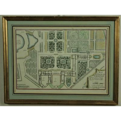 Map Of The Palace Of Trianon, Watercolor Print, 1705, Golden Frame