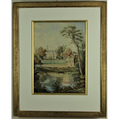 E.lesache, Great Watercolor Dated, Signed