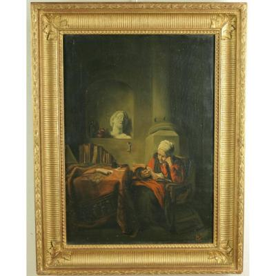 Maes Eugéne Rémy, Woman Reading Her, Oil On Canvas