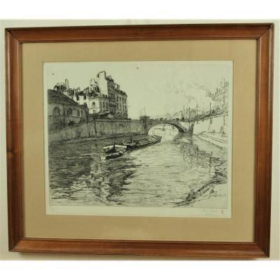 René Pinard, The Pont De La Poissonnerie In Nantes, Framed Print
