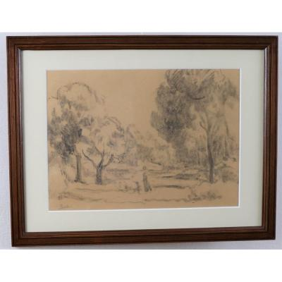 Maximilien Luce, Animated Landscape, Signed Charcoal, Pitchpin Frame