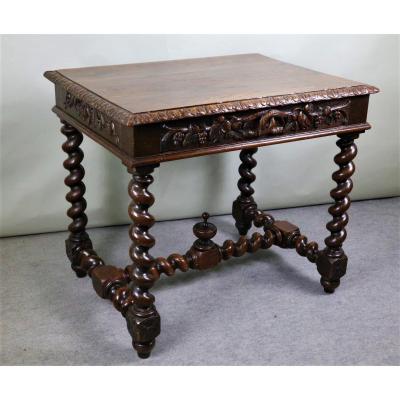 Petite Table En Chêne, Style Louis XIII, époque XIXeme Siècle