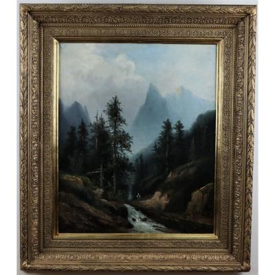 Mountain Landscape In Torrent, Oil On Canvas, French School, Around 1860