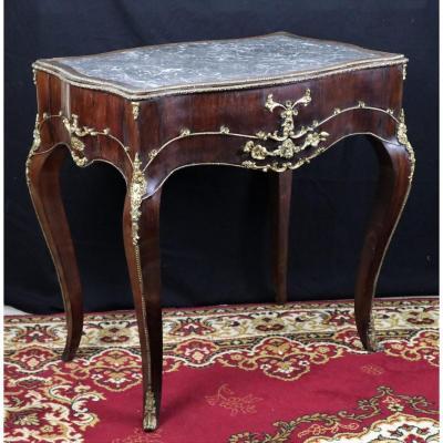 Table De Style Louis XV à Plateau De Marbre