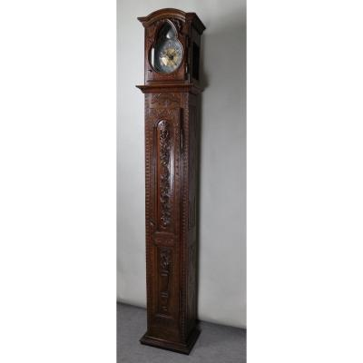 Carved Oak Floor Clock, XVIIIth Movement
