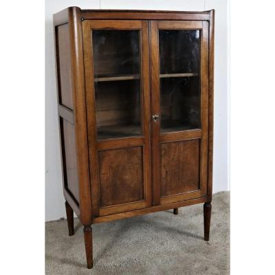 Small Directoire Walnut Showcase, Late 18th-early 19th Century