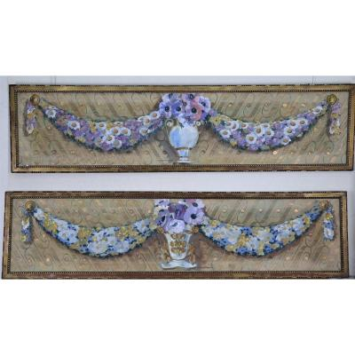 Pair Of Decorative Panels By Geoges Ritleng, Signed, Dated 1929.