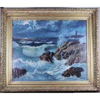 """"""" le phare dans la tempête"""", huile sur panneau, signée Pierre Forest"""