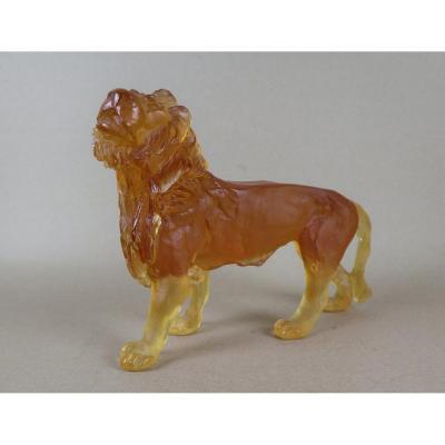 Lion In Amber Crystal Paste, Signed, Bayel, Royal Champagne Crystal