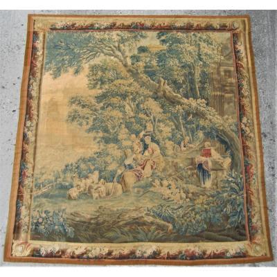 Tapisserie d'Aubusson, les lavandières,  XVIIIeme siècle