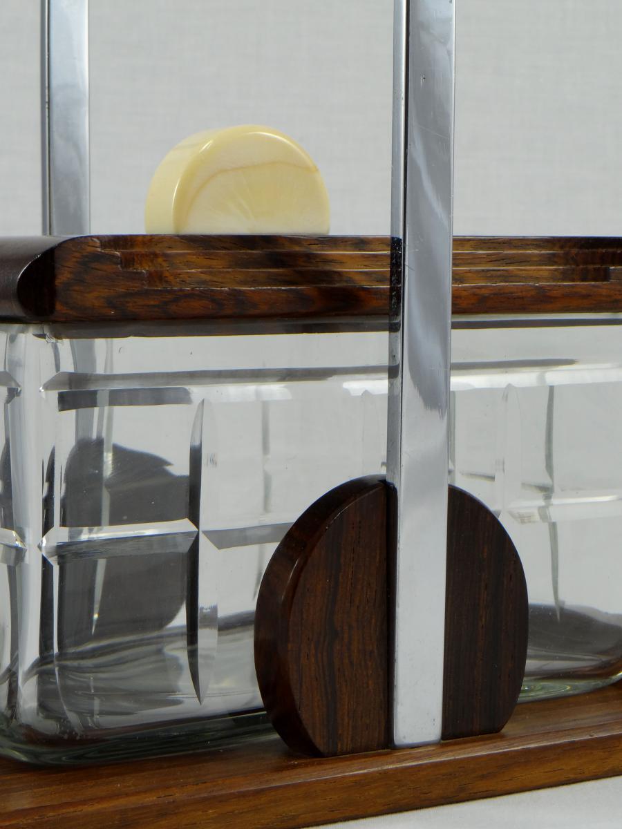 Bonbonnière ou seau à biscuits ép. Art Déco cristal et ébène