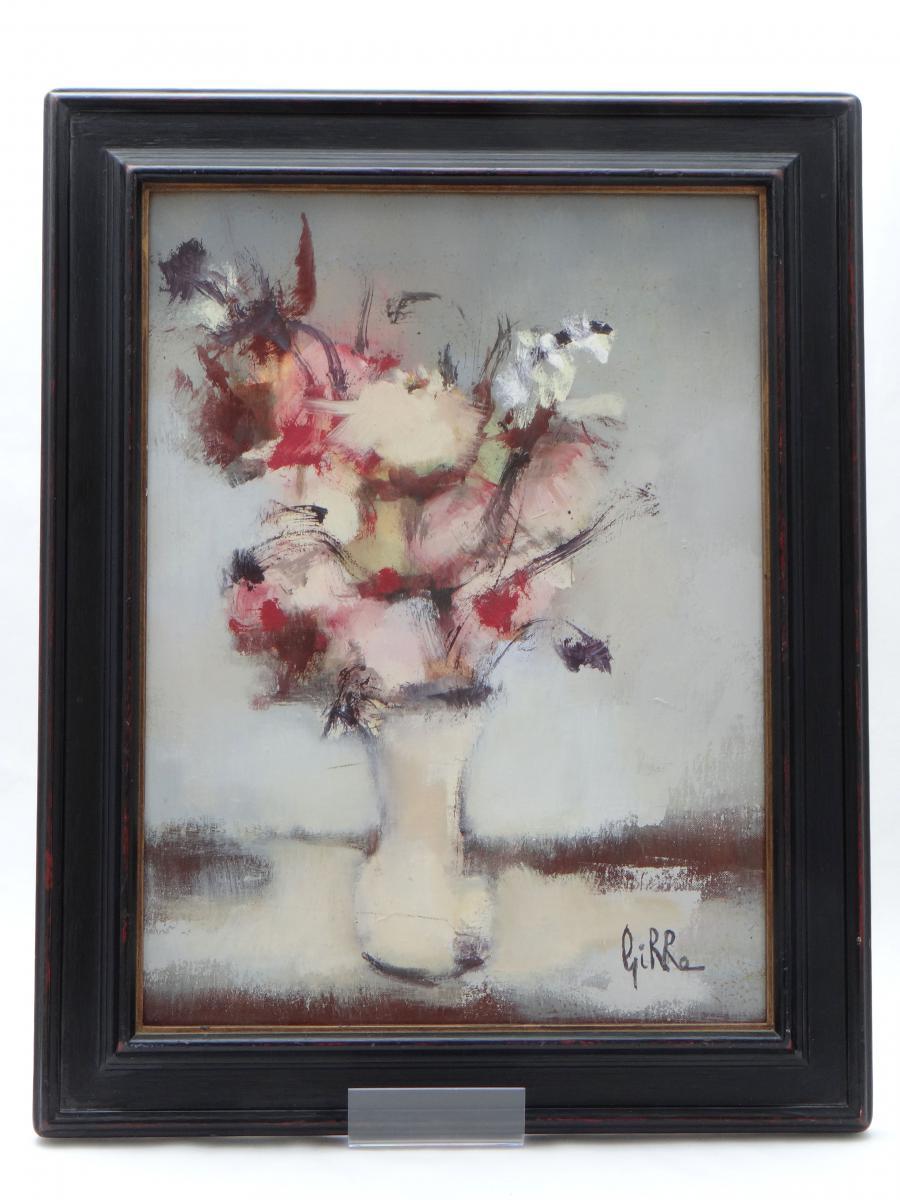 """Pierre GIRRE, tableau bouquet de fleurs années 1960/1970 """"Légèreté""""."""