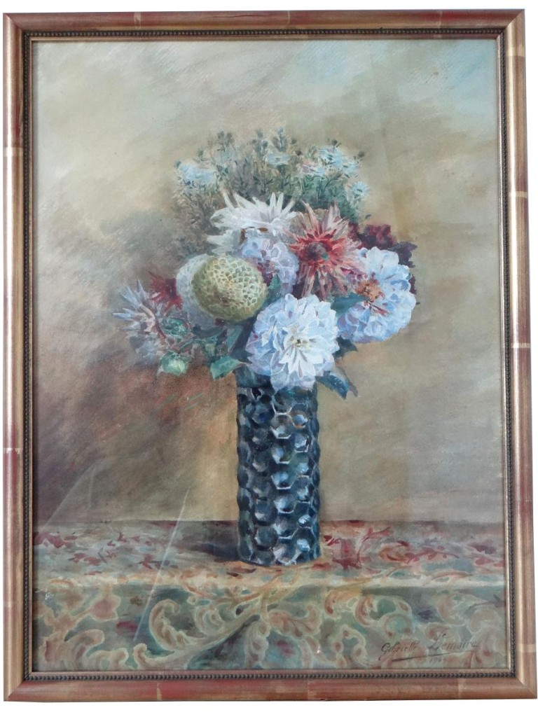 Gabrielle Lemaire (1880-1976), Large Watercolor Bouquet Of Flowers 1905.