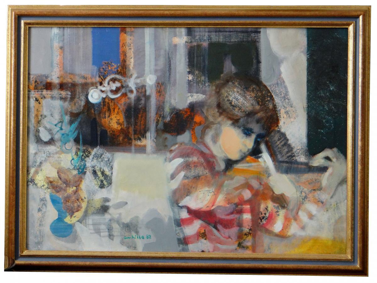"""Paul Ambille (1930-2010), Tableau """"la Crémone"""" Jeune Fille au Violon."""