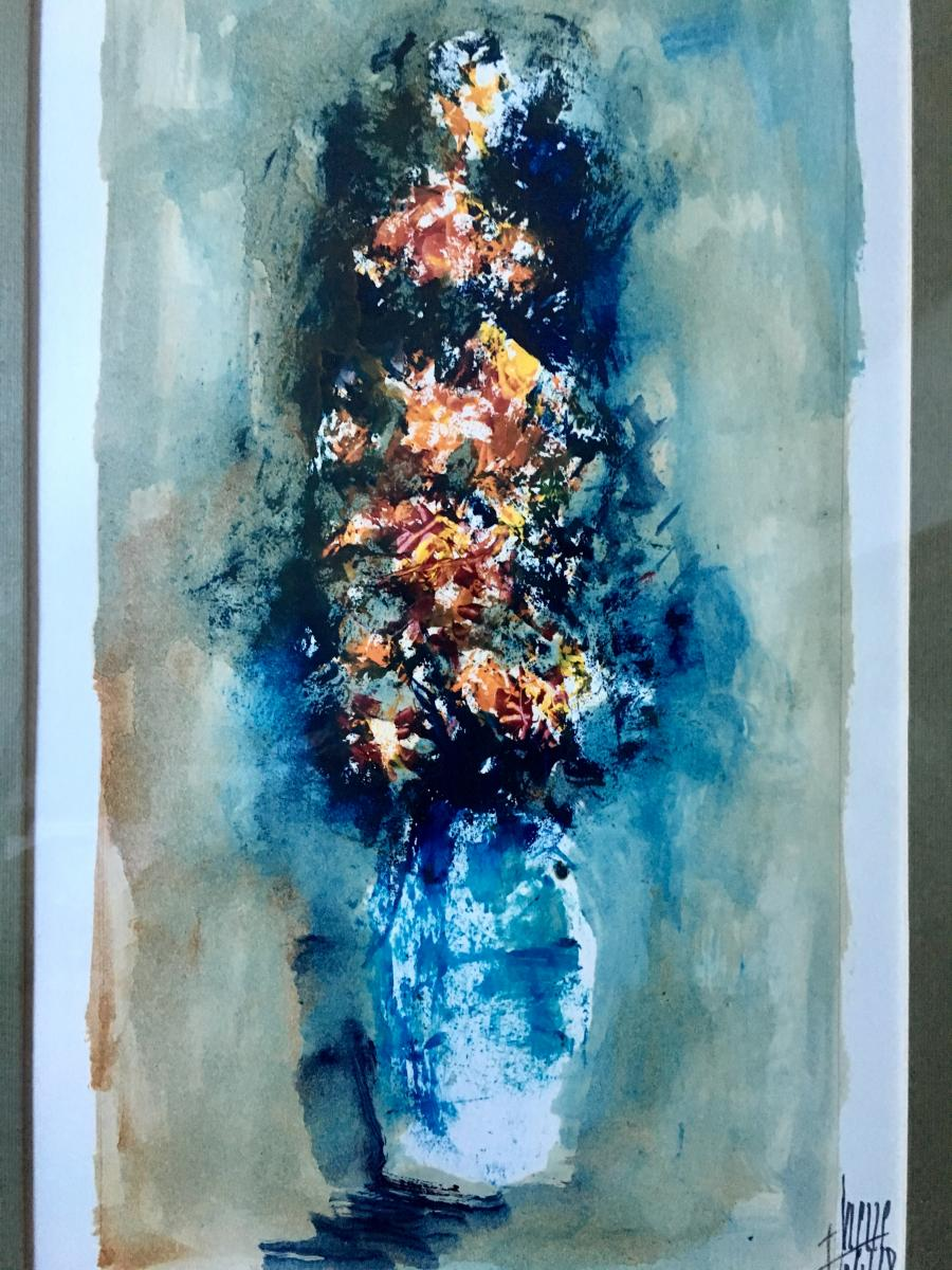 Fernand HeuzÉ (born In 1914), Watercolor Bouquet Of Flowers 1968
