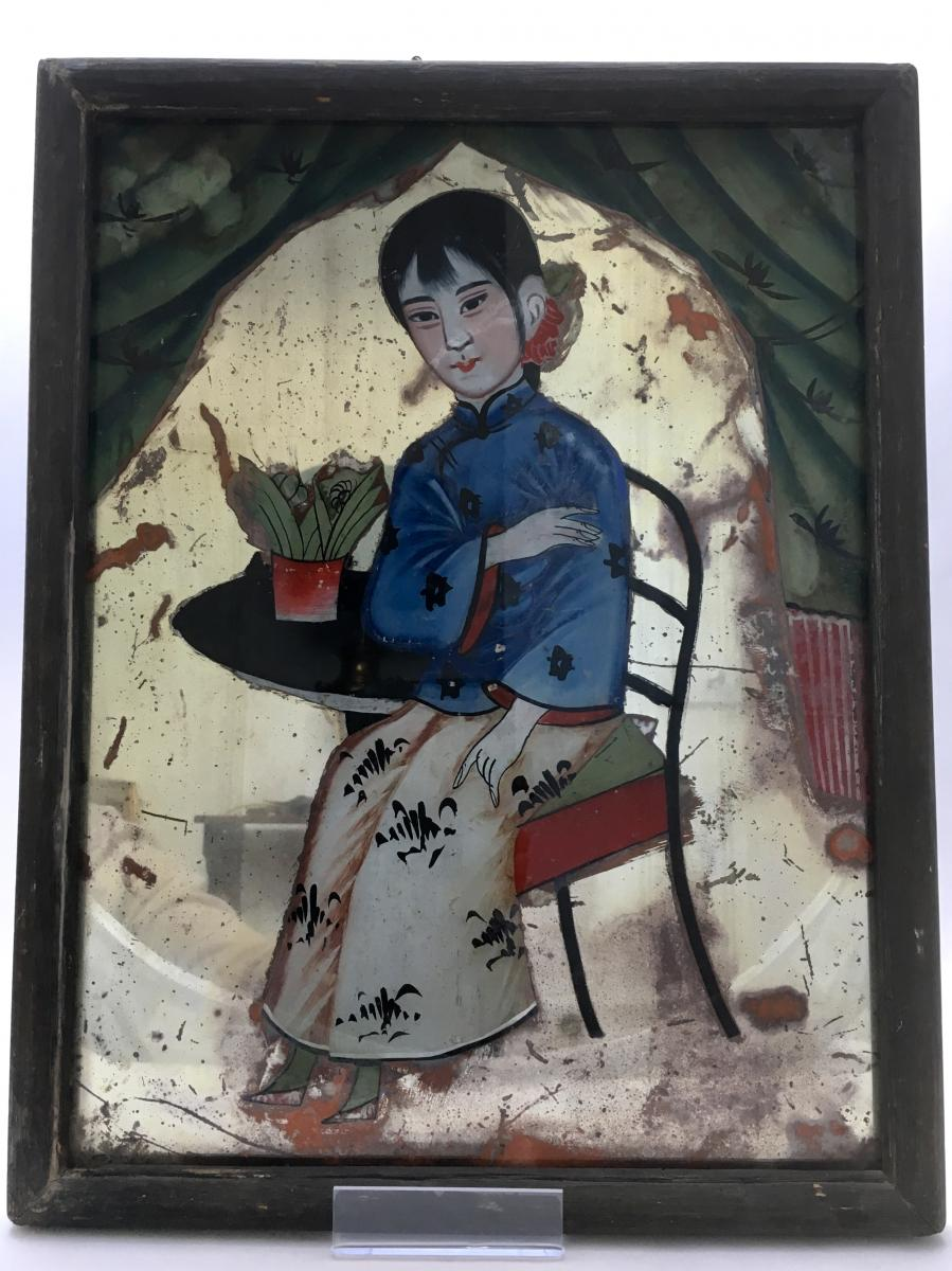 Chine, Dernier Tiers du XIXème Siècle, Peinture Sous Verre Figurant Une Enfant.