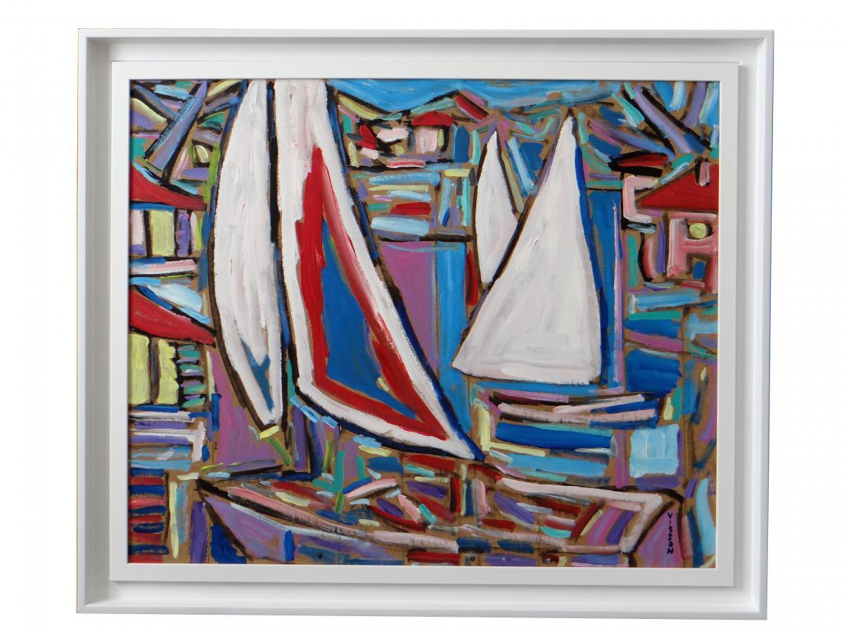 """Philippe Visson (1942-2008), Tableau """"poussée De Vent""""."""