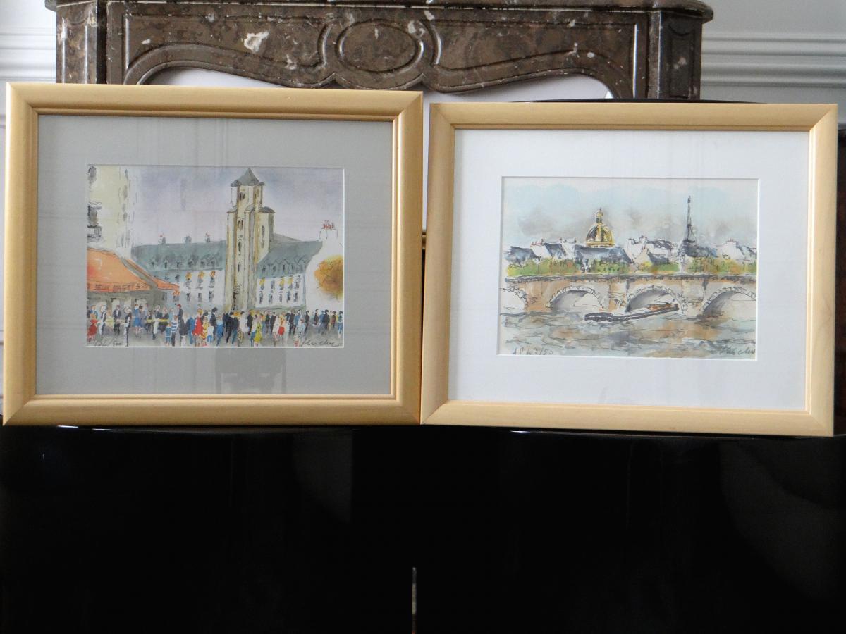 Urban Huchet, Two Lithographs Views Of Paris 1970s.