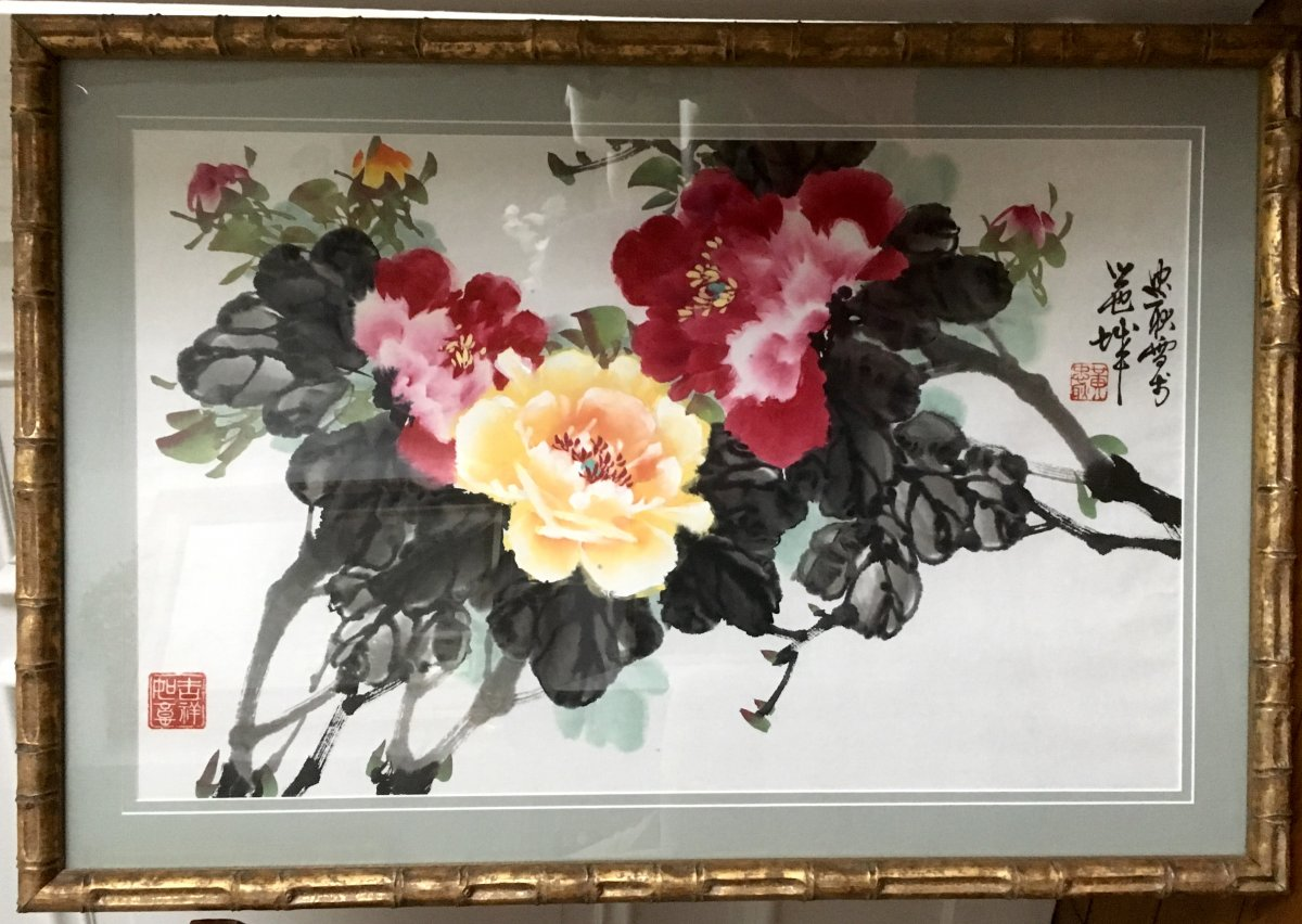 China, XXth Century, Large Watercolor Depicting Flowering Branches.
